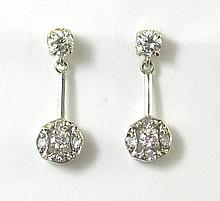 PAIR OF DIAMOND AND FOURTEEN KARAT WHITE GOLD EARRINGS