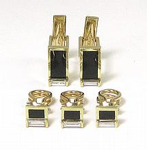 MAN'S DIAMOND, BLACK ONYX AND GOLD TUXEDO CUFFLINK AND STUD SET