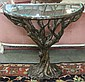 GLASS TOP 'TREE TRUNK' CONSOLE TABLE, cast resin