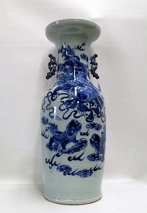 CHINESE BLUE AND WHITE PORCELAIN VASE, hand