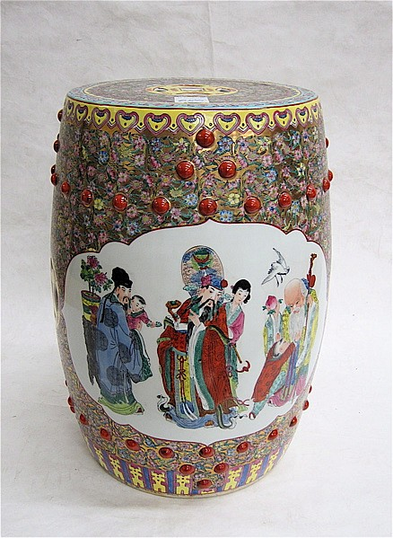 CHINESE EXPORT PORCELAIN GARDEN STOOL, of round