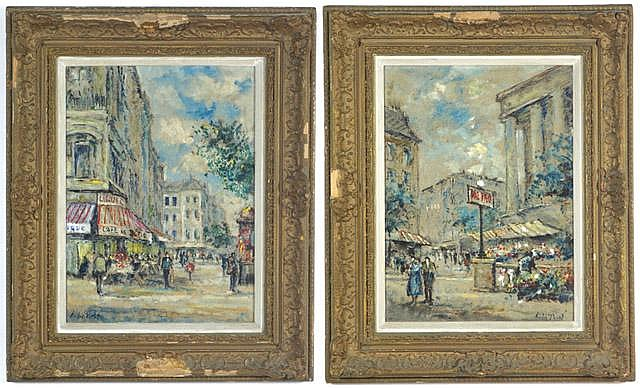 ANDRE PICOT, PAIR OILS ON CANVAS PANELS (French,