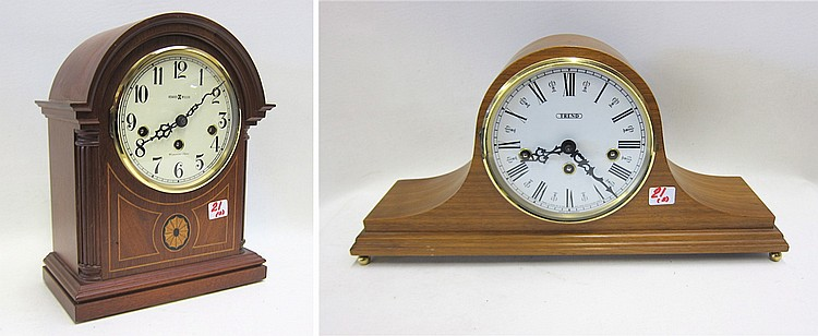 TWO WESTMINSTER CHIME MANTEL CLOCKS: one by Howard