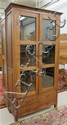 CRAFTSMAN STYLE MAHOGANY CABINET BOOKCASE, having