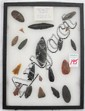 CASED COLLECTION OF 20 ARROW HEADS, KNIFE & SPEAR