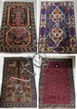 FOUR HAND KNOTTED BELOUCHI TRIBAL AREA RUGS AND