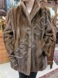 LADIES MINK JACKET, natural brown fur, with three