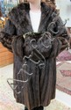 LADY'S MINK COAT & MUFF, 2 pieces: dark brown fur.
