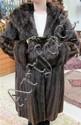 LADY'S MINK COAT & MUFF, 2 pieces: dark brown fur.
