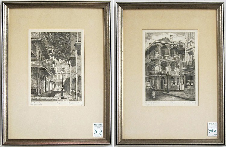 EUGENE E. LOVING, TWO ETCHINGS (Louisiana,