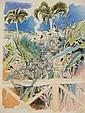 Andrew Clement VERSTER (1937 - ) HAND COLOURED LITHOGRAPH ~ VIEW FROM A BALCONY, 38 x 30cms, Andrew Verster, Click for value