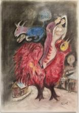 Original Pastel Drawing by Marc Chagall