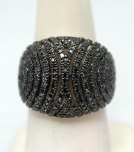 Elegant Black Diamonds Silver Ring (3R)