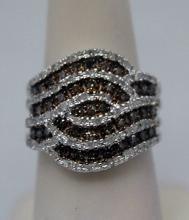 Dazzling Champagne & White Diamonds Silver Ring (4R)
