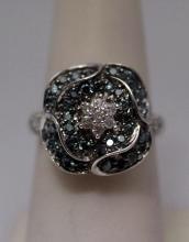 Beautiful Blue & White Diamonds Silver Ring (5R)