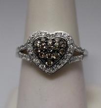 Stunning Heart Shape Champagne & White Diamonds Silver Ring (7R)