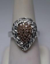 Lavish Pear Shape Champagne & White Diamonds Silver Ring (8R)