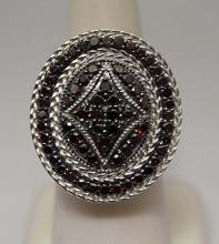 Fine Red & White Diamonds Silver Ring (9R)