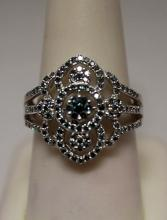 Exquisite Blue & White Diamonds Silver Ring (10R)