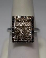 Very Fancy Champagne Diamonds Silver Ring (11R)