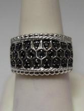 Elegant Black & White Diamonds Silver Ring (13R)