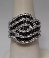 Stunning Blue & White Diamonds Silver Ring (17R)