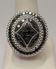 Fine Black Diamonds Silver Ring (19R)