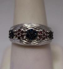 Very Fancy Red & Blue Diamonds Silver Ring (21R)
