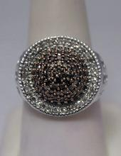 Gorgeous Champagne & White Diamonds Silver Ring (22R)