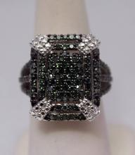 Elegant Green Diamonds Silver Ring (23R)