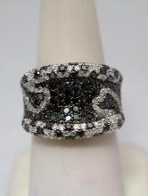 Stunning Black, Blue & White Diamonds Silver Ring (27R)