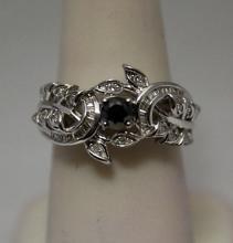 Lavish Black, White & Baguette Diamonds Silver Ring (28R)