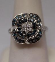 Fine Blue & White Diamonds Silver Ring (29R)