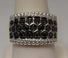 Exquisite Unisex Black Diamonds Silver Ring (30R)