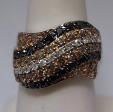 Gorgeous Black, Champagne & White Diamonds Silver Ring (32R)
