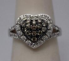 Elegant Heart Shape Champagne & White Diamonds Silver Ring (33R)