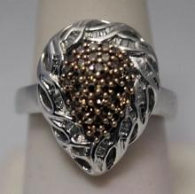 Fancy Pear Shape Champagne & White Silver Ring (36R)