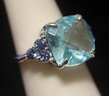 Stunning Royal Blue Topaz Silver Ring (126R)