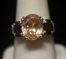Gorgeous Garnet & Agate Silver Ring (140R)