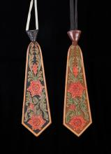 Two Carved Leather Ties by Visalia Stock Saddle Co.