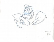 ORIGINAL  SPONGEBOB PRODUCTION DRAWING OF MERMAIDMAN  FROM