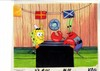 ORIGINAL HAND PAINTED SPONGEBOB PRODUCTION CEL OF KRABS AND SPONGEBOB AND PRINT BACKGROUND FROM