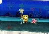 MUSEUM  GRADE SPONGEBOB SQUAREPANTS PRODUCTION CEL AND PRODUCTION BACKGROUND FROM THE FIRST YEAR 1999  FEATURING A  CEL OF SPONGEBOB SQUIDWARD  FROM THE EPISODE NAUGHTY NAUTICAL NEIGHBOR AND A CEL OF GARY FROM  ANOTHER EPISODE