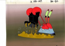 MUSEUM GRADE SPONGEBOB SQUAREPANTS PRODUCTION CEL AND PRODUCTION BACKGROUND FROM THE FIRST YEAR 1999 FEATURING AN IMAGE OF KRABS FROM THE EOISODE SQUEAKYBOOTS