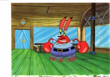 ORIGINAL HAND PAINTED SPONGEBOB PRODUCTION CEL OF KRABS AND PRINT BACKGROUND FROM