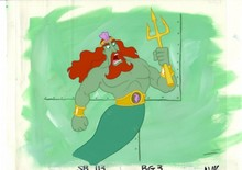 MUSEUM  GRADE SPONGEBOB SQUAREPANTS PRODUCTION CEL AND PRODUCTION BACKGROUND FROM THE FIRST YEAR 1999  FEATURING A  CEL OF KING NEPTUNE FROM AN UNKNOWN EPISODE