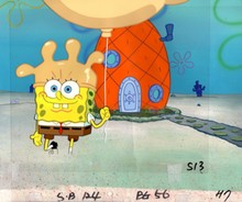 MUSEUM  GRADE SPONGEBOB SQUAREPANTS PRODUCTION CEL AND PRODUCTION BACKGROUND FROM THE FIRST YEAR 1999  FEATURING A  CEL OF SPONGEBOB FROM THE EPISODE ROCK BOTTOM