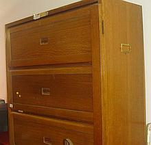 Pair of vintage oak office cabinets with lift up