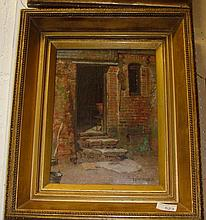 Barn Steps T Eyre Macklin oil on canvas framed