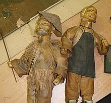 Two unusual Oriental composite dolls